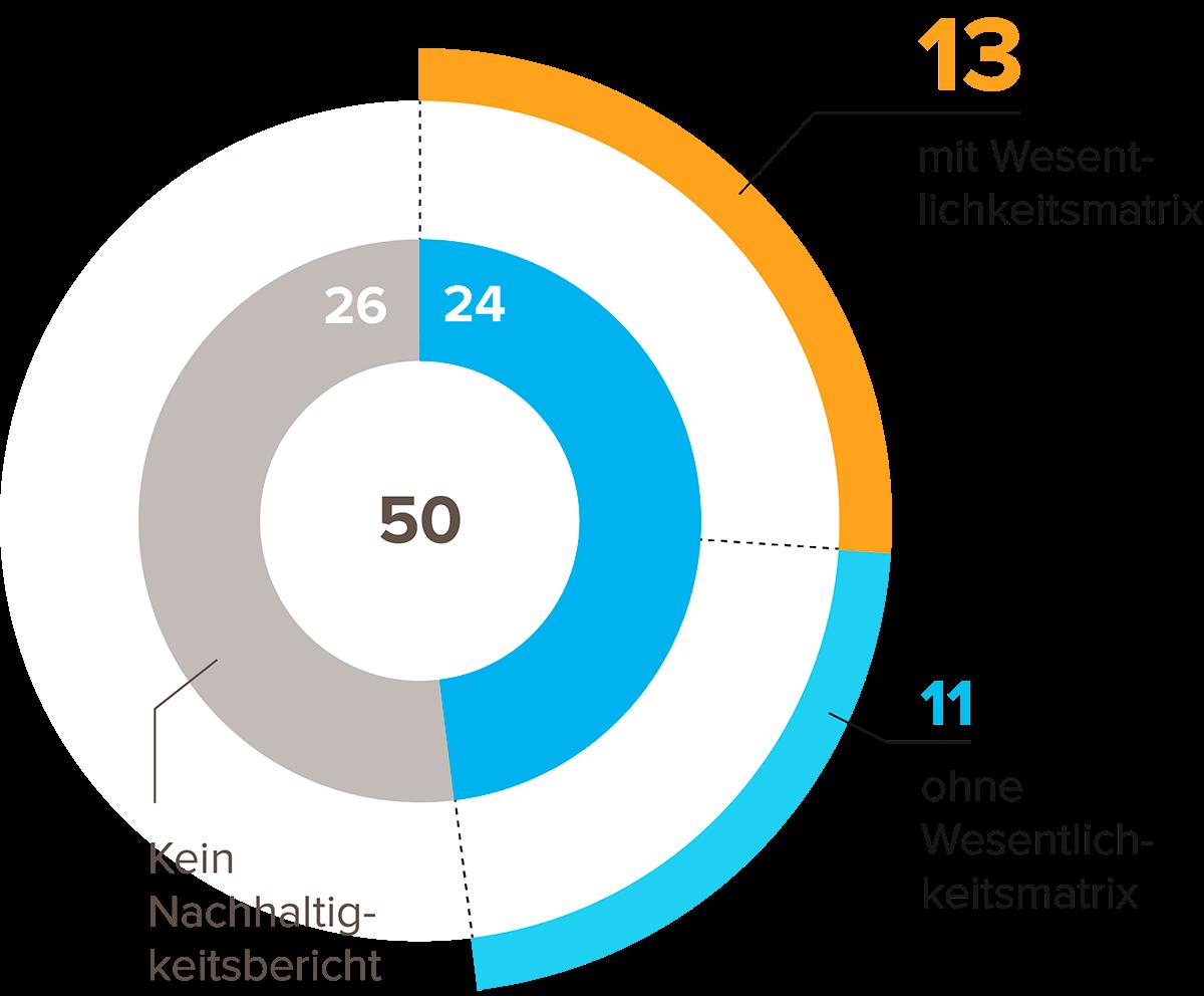 Abbildung 4: Anzahl Unternehmen, die Berichte mit Wesentlichkeitsmatrix veröffentlicht haben